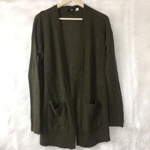 BDG open front olive green cardigan size S